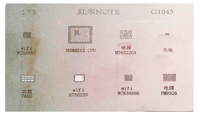 شابلون G1045 مناسب آی سی های برد گوشی موبایل شیائومی redmi note