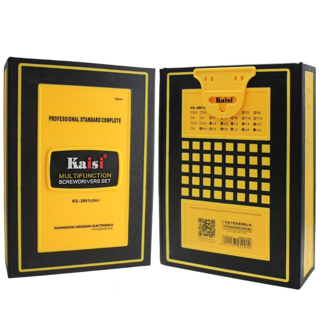 ست ابزار پیچ گوشتی چند منظوره ۳۸ تکه KAISI KS-3801 تعمیرات موبایل