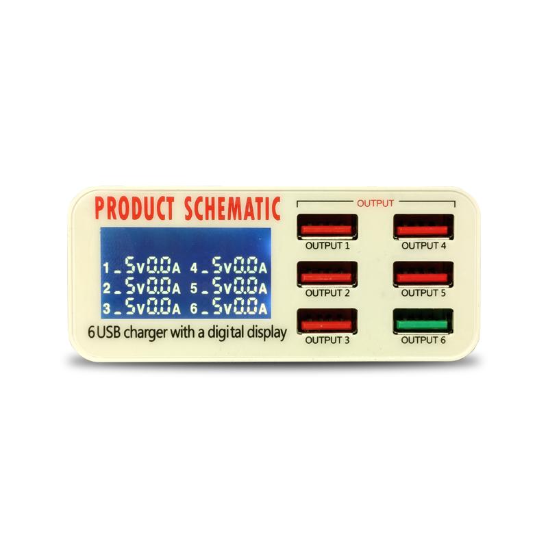 مولتی شارژر ۶ پورت Easyfix 896 با نمایشگر LED مناسب تعمیر گوشی موبایل