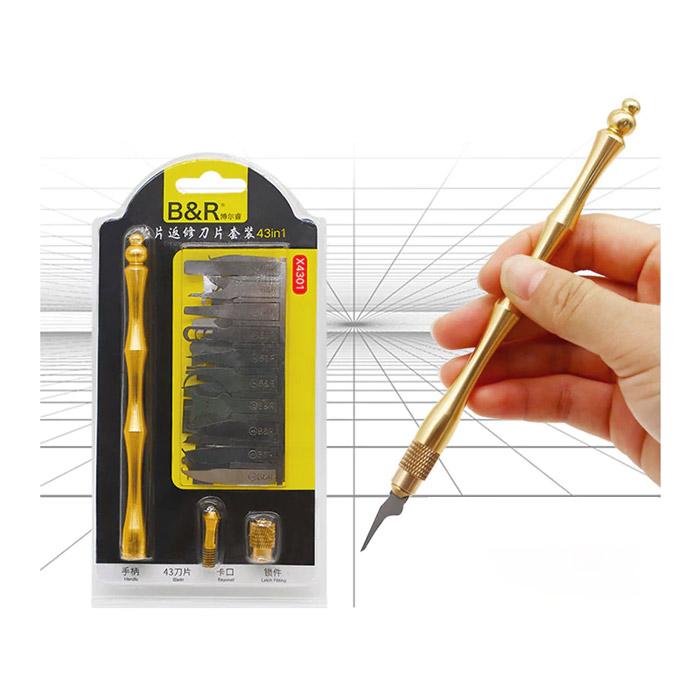 ست 43 عددی دسته تیغ B&R X4301 مناسب پاک کردن چسب آی سی برد گوشی