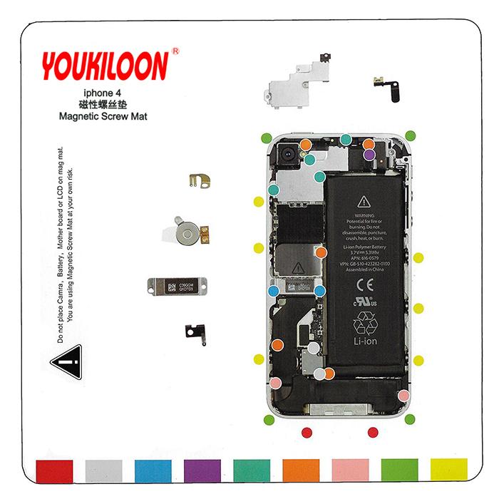 پد مغناطیسی Youkiloon iphone 4 مناسب مدیریت جای پیچ ها در تعمیرات ایفون