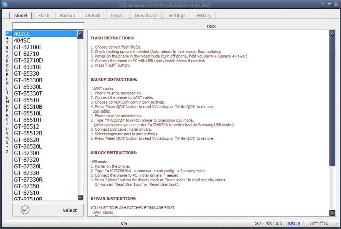 منو برنامه Samsung Tool Pro باکس Z3X