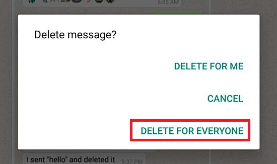 پاک کردن پیام در واتساپ