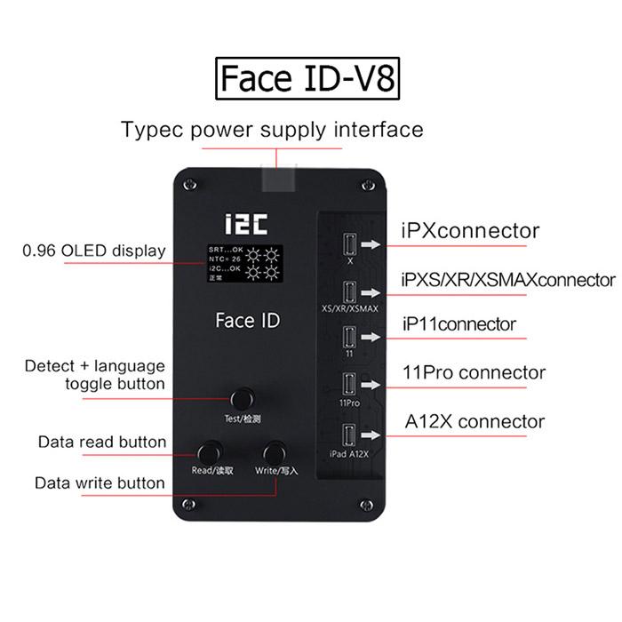 ماژول پروگرامر فیس آیدی i2C-Face ID همراه با گیره و فلت فیس ایدی گوشی ایفون