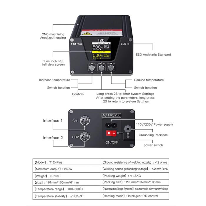 هویه دیجیتال I2C T12 -PLUS مناسب لحیم کاری در تعمیرات موبایل