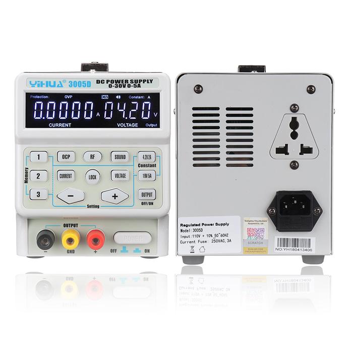 منبع تغذیه دیجیتالی YIHUA 3005D با 30 ولت 5 آمپر مناسب تعمیرات موبایل