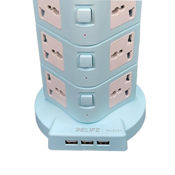 مولتی شارژر RELIFE RL-315A دارای 16پریز و 3 پورت USB